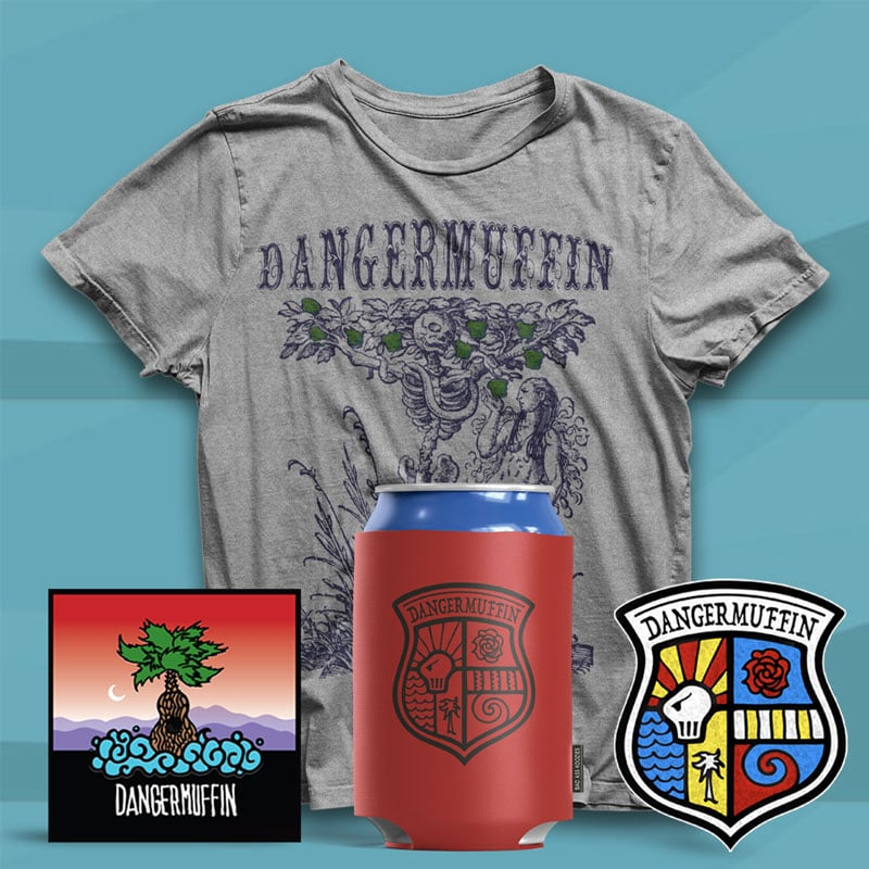 DANGERMUFFIN TEE-STICKERS-KOOZIE-COMBO